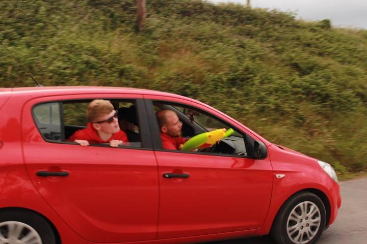 Two leaders in car